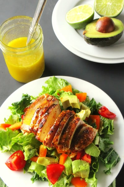 Chicken and Avocado Salad with Homemade Honey Lime Dressing