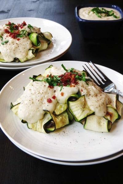Zucchini Ravioli with Chicken Prosciutto Filling and 'Cauli-fredo' Sauce (Paleo and Gluten Free!)