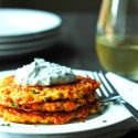 Zucchini and Carrot Fritters with Chive and Basil Sour Cream (Gluten Free)