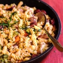 Skinny Chicken Pasta with Veggies and Sun-Dried Tomato Sauce