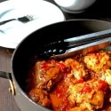 Tender Braised Chicken in a Tomato Sauce with Wine and Mustard
