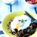 Simple Breakfast Potato and Ham Hash with Eggs