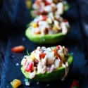 Pineapple and Prawn Salsa & Cashew Sriracha Cream on Avocado halves