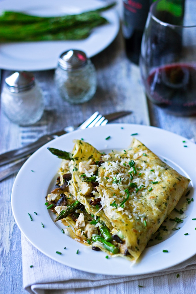 Gluten Free Chicken Crepes with Asparagus, Mushrooms and Gruyere