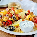 Greek Chicken & Vegetable Skewers with Easy Rice Pilaf and Homemade Tzatziki