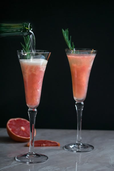 Grapefruit Mimosa with Rosemary Infused Simple Syrup