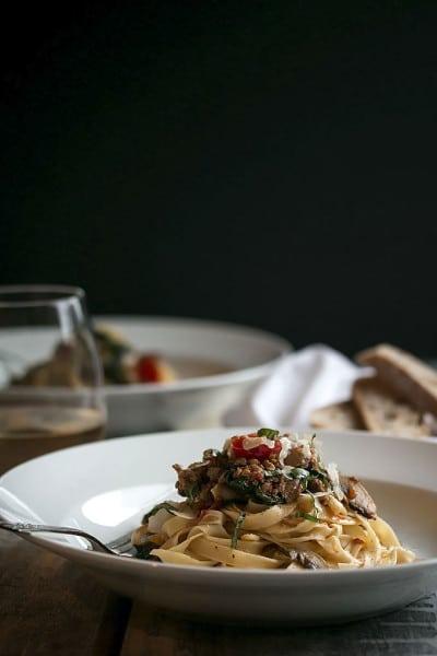 Sausage, Spinach and Wine Fettuccine Recipe