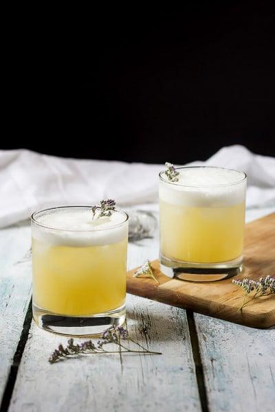 Elderflower, Peach and Lavender Gin Sour