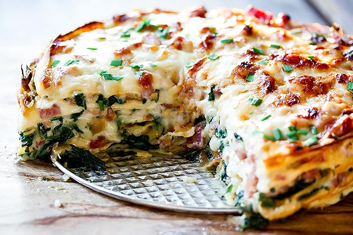Spinach and Ham Savory Crepe Cake with Gluten Free Crepes