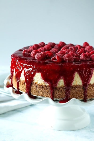 Boozy Raspberry Lemon Souffle Cheesecake