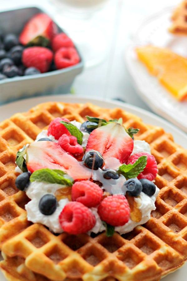 Cream Cheese Waffles-Berries