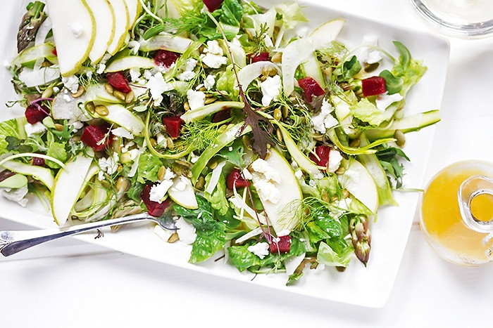 Summer Salad with Fennel, Asparagus, Pears and Champagne Vinaigrette
