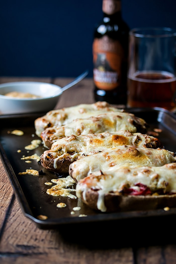 These reuben stuffed potato skins are full to the brim of smoked meat ...