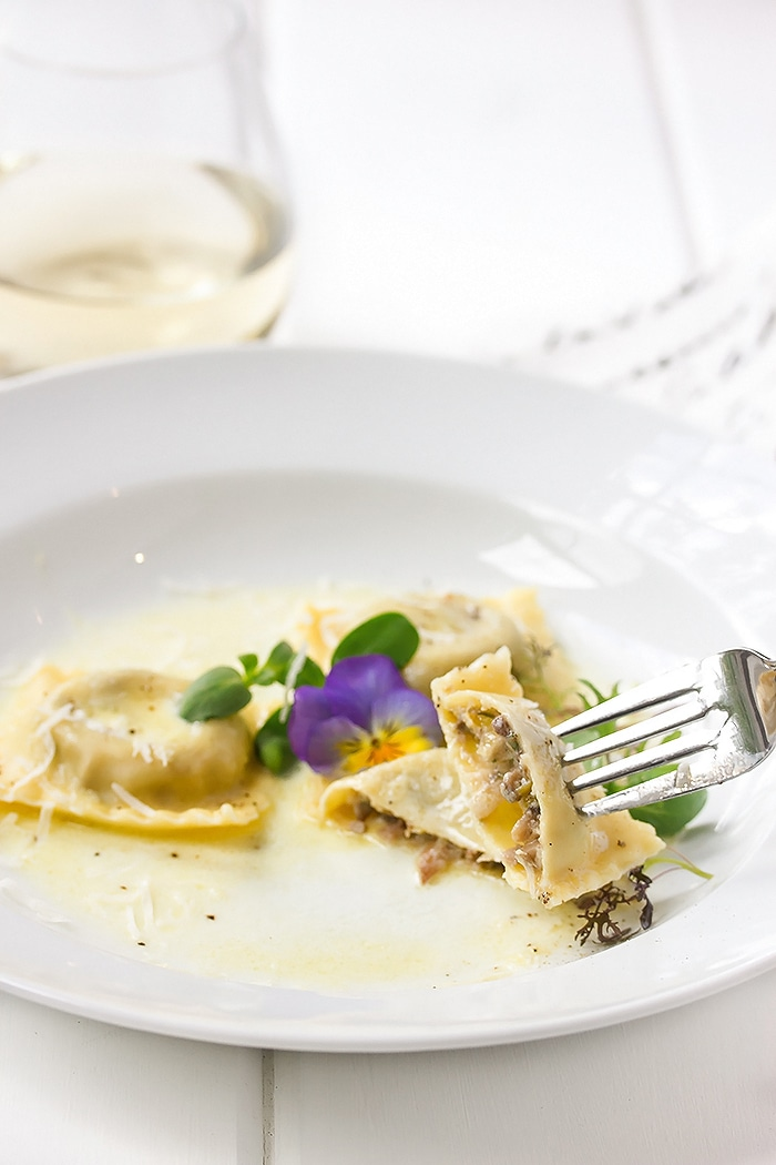 Homemade Ravioli with Goat Cheese & Mushroom and a Limonecello Sauce