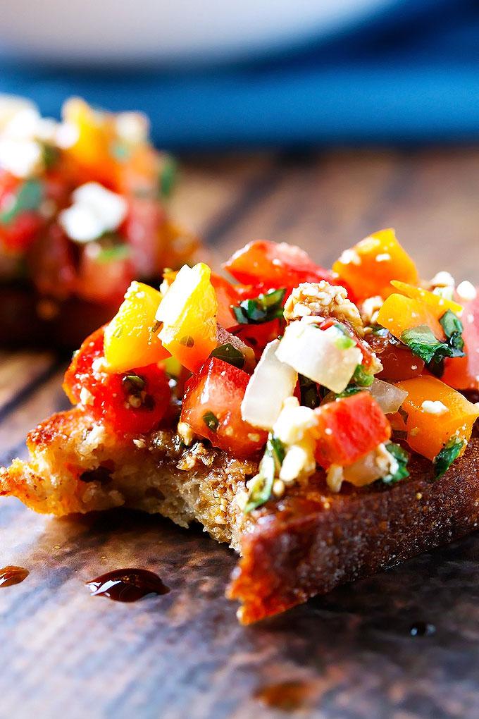 Tomato, Pepper & Basil Bruschetta