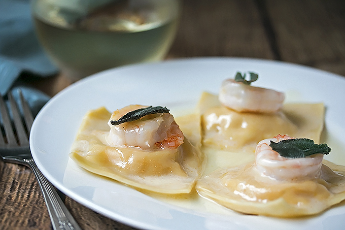 Butternut squash ravioli with prawns fried sage and for What to serve with butternut squash ravioli