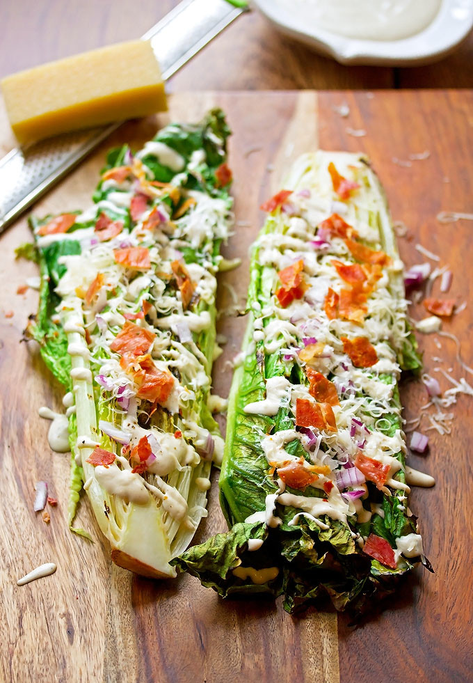 Grilled Caesar Salad with Creamy Cashew Dressing