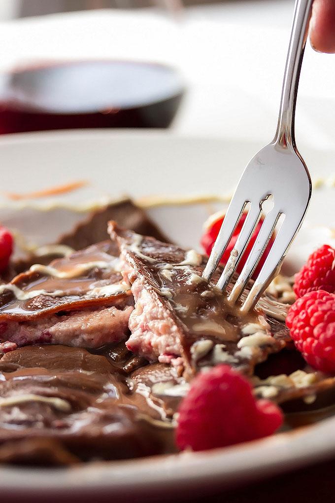 Chocolate Ravioli with Raspberry Cannoli Filling