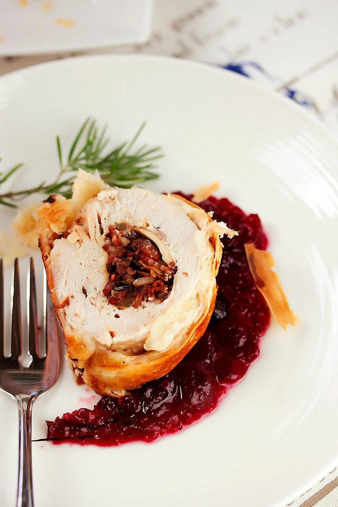 Cranberry, Goat Cheese & Wild Rice Turkey Wellingtons