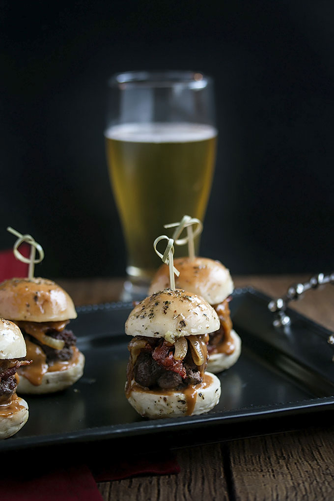 Whiskey Beef Sliders with Caramlized Onions, Bacon & Homemade Buns