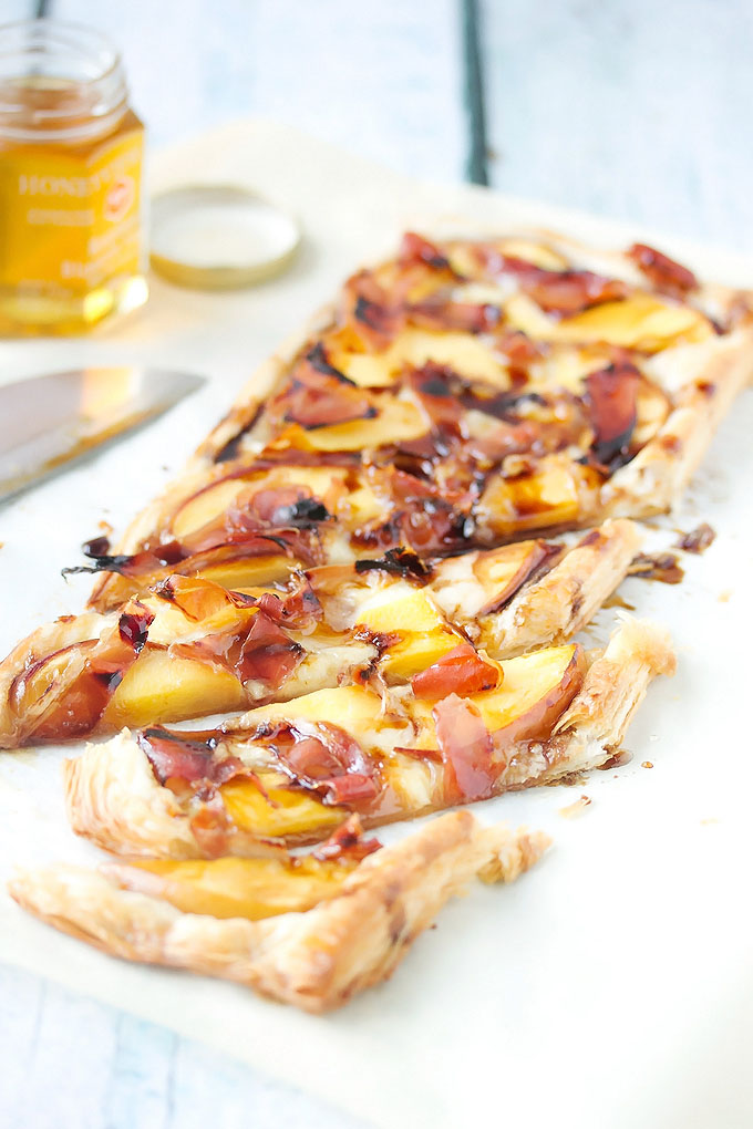 Peach and Proscuitto Tart