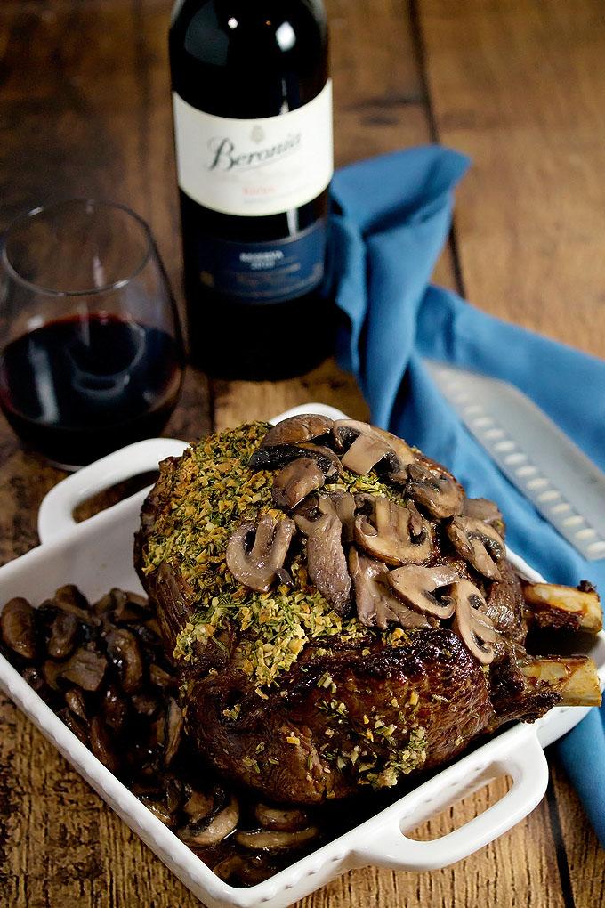 Rib Eye Roast and Rioja Wine