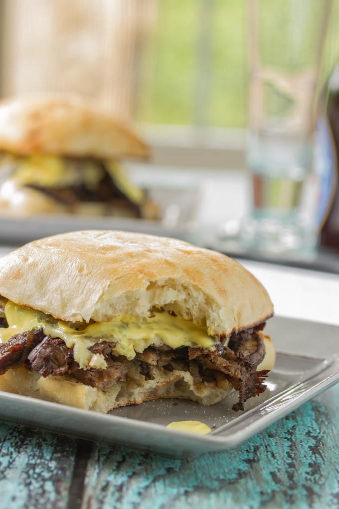 Steak Sandwich with Onions, Mushrooms and Havarti
