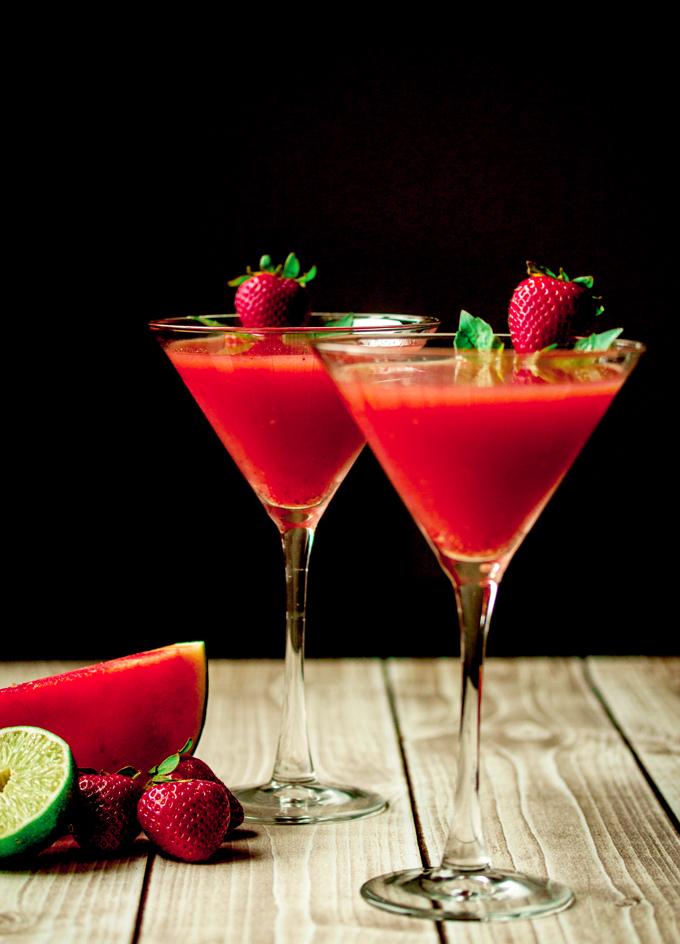 Strawberry Watermelon Basil Martini With Vanilla Vodka