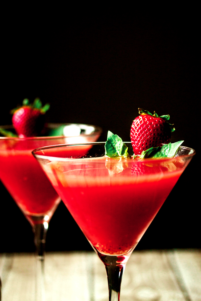 Strawberry Watermelon & Basil Martini