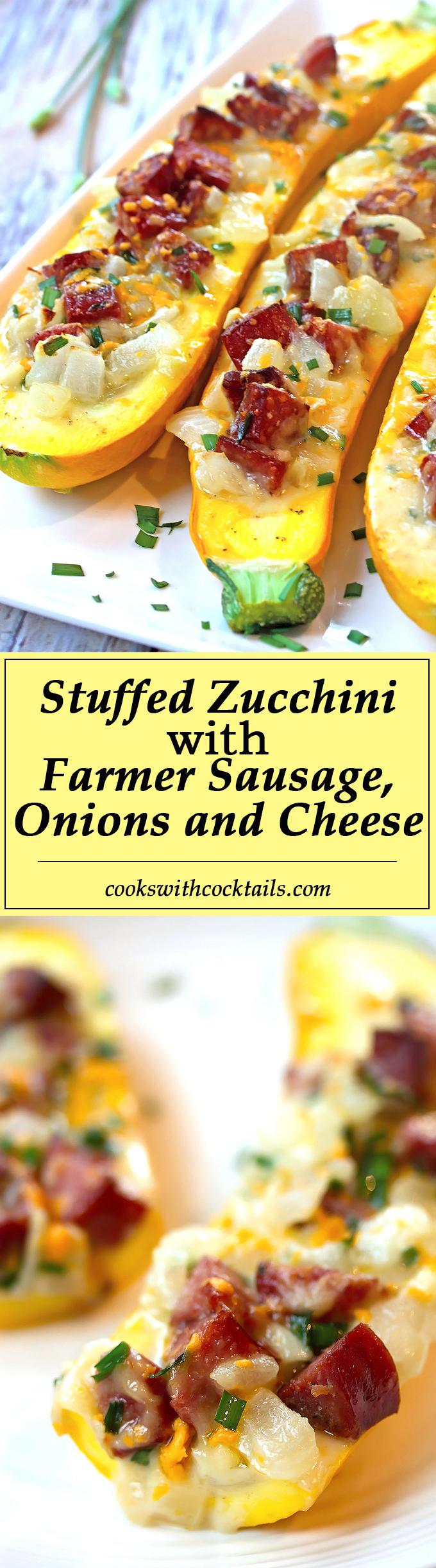 Stuffed Zucchini with Farmer Sausage, Onions & Cheese