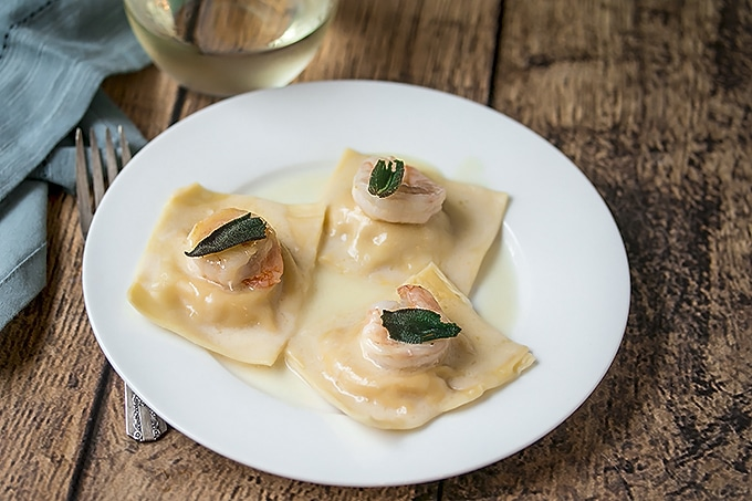 Truffle Butter Pasta butternut squash ravioli with prawns, fried sage and truffle oil sauce