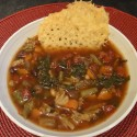 Bean and Kale Vegetable Soup with Parmesan Crisps