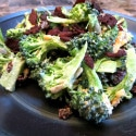Kale and Broccoli Salad with Bacon and Cranberries