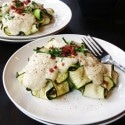 Zucchini Ravioli with Chicken Prosciutto Filling and 'Cauli-fredo' Sauce (Paleo and Gluten Free!)