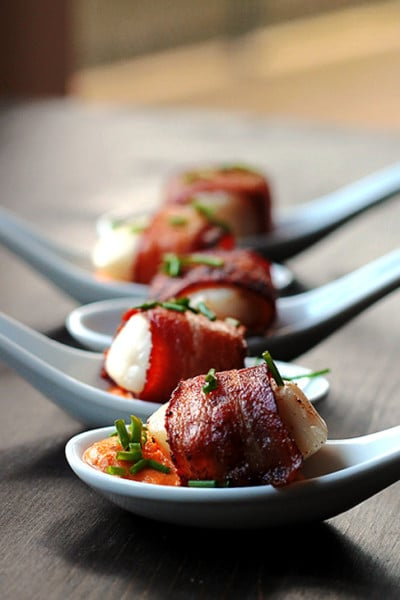 Bacon Wrapped Scallops with Cajun Cream Sauce