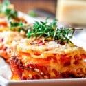 Potato & Sweet Potato Stacks with Caramelized Onions and Prosciutto