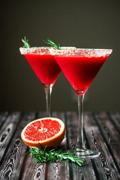 Raspberry Grapefruit & Rosemary Martini with Ginger