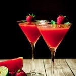 Strawberry Watermelon & Basil Martini