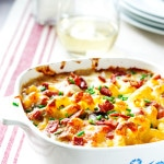 Cauliflower Mac & Cheese with Aged Cheddar, Ham & Peas