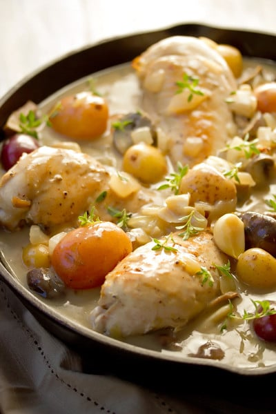 Braised Bone-in Chicken Breast in a Creamy Wine Sauce