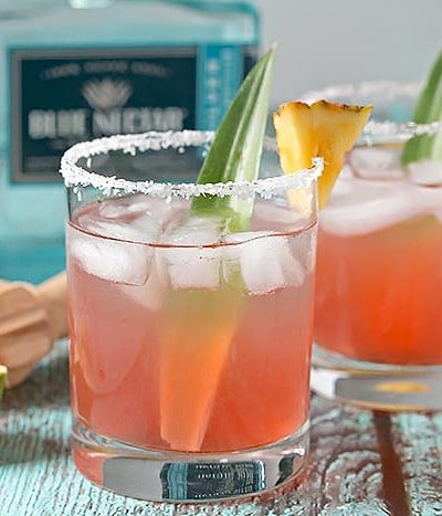 Hibiscus and Pineapple Margarita with Blue Nectar Tequila
