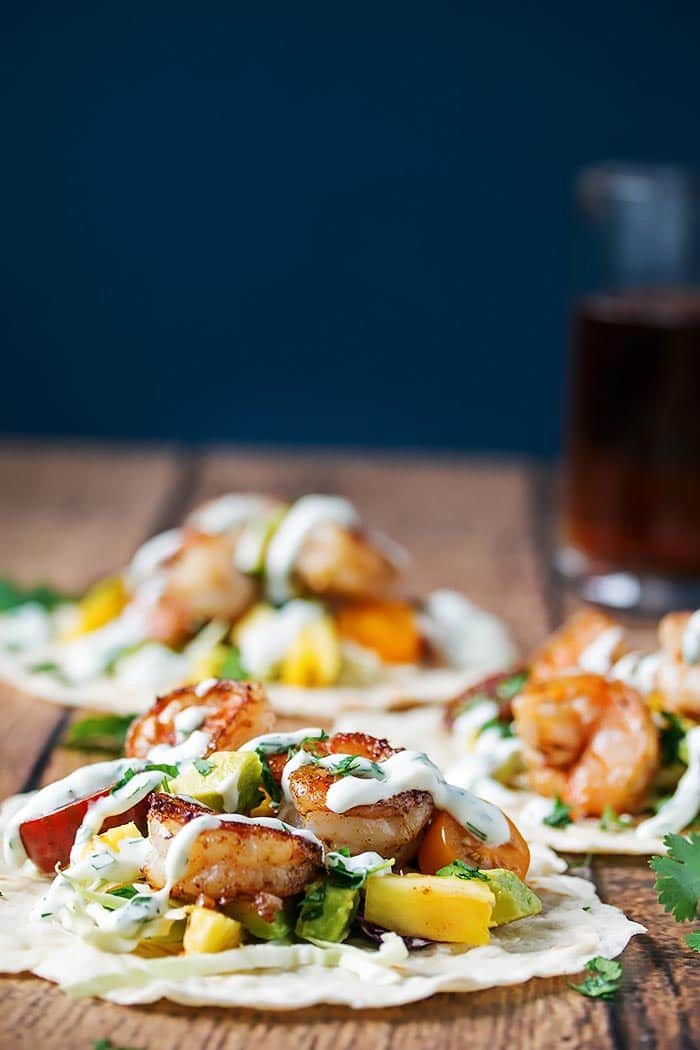 Grilled Shrimp Tacos with Pineapple Avocado Salsa