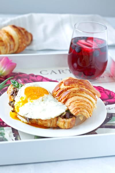 Mushroom and Leek Croissant Topped with an Egg | A Perfect Mothers Day Brunch