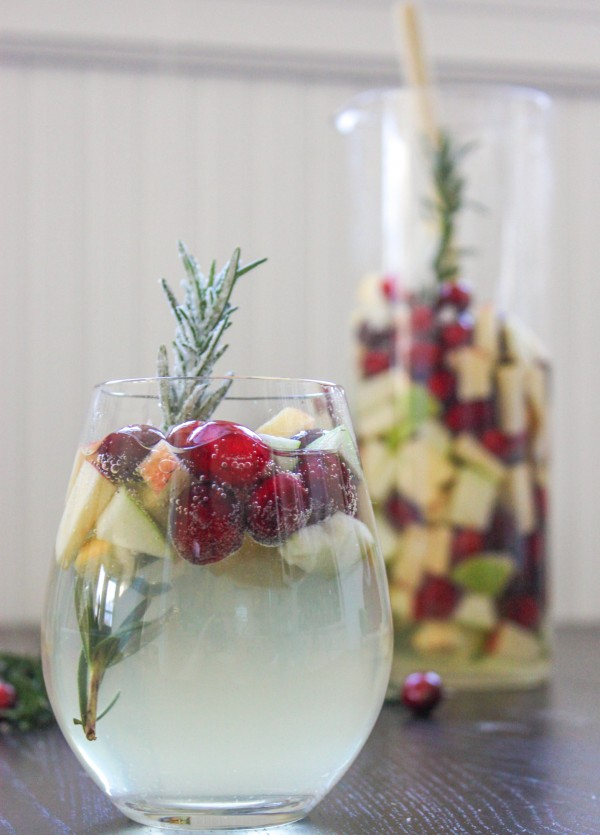 Cranberry Rosemary White Christmas Sangria - Cooking Stoned