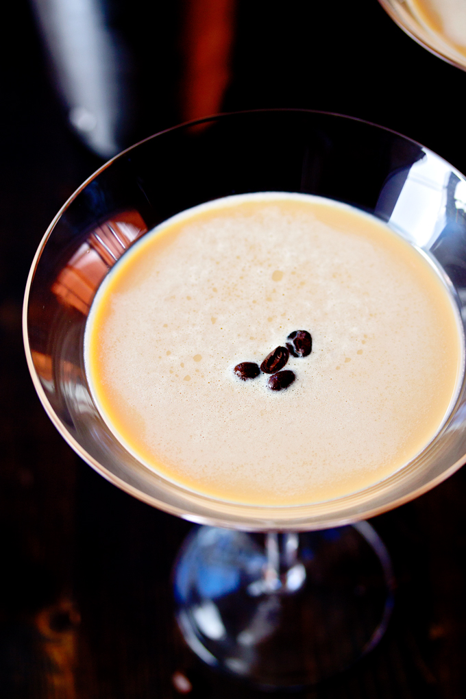 coffee beans floating in an Espresso Vodka Martini