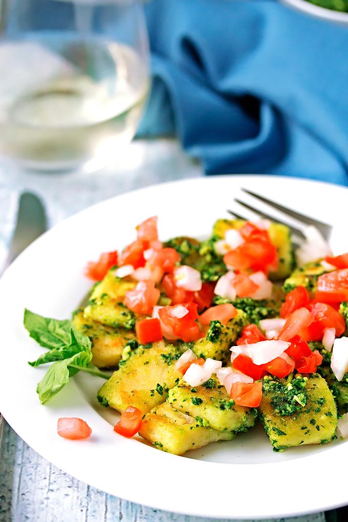 Gluten Free Gnocchi with Kale Pesto and Pico de Gallo