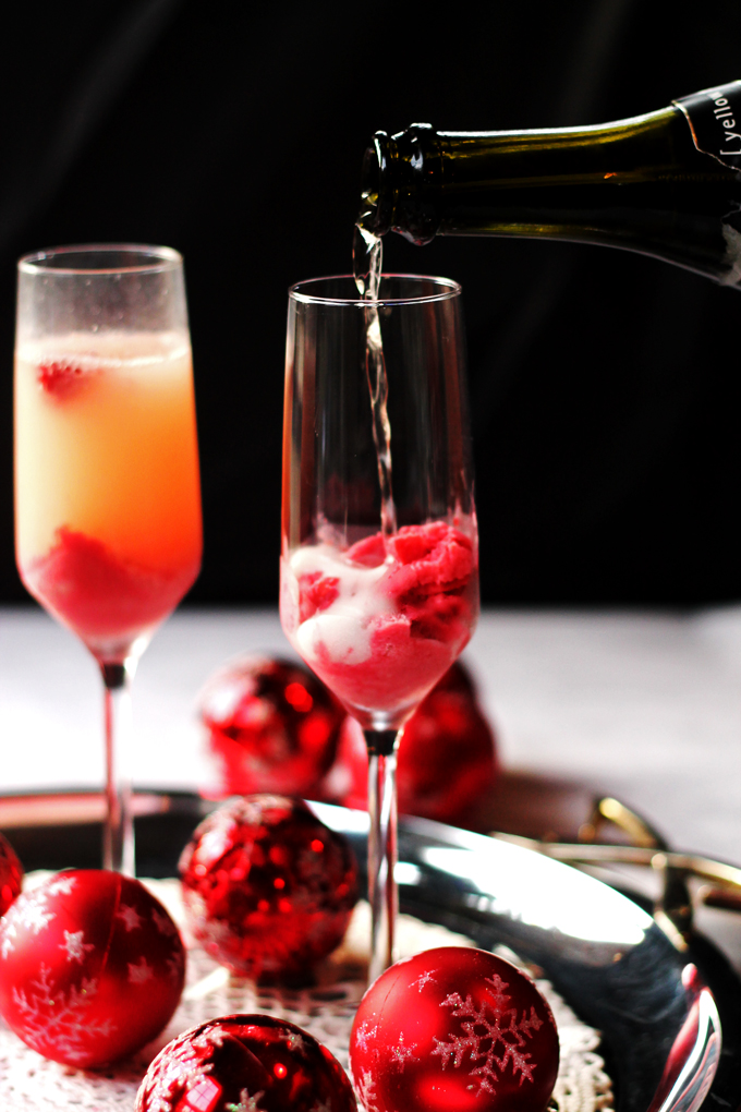 Sparkling Wine with Raspberry Cream Granita