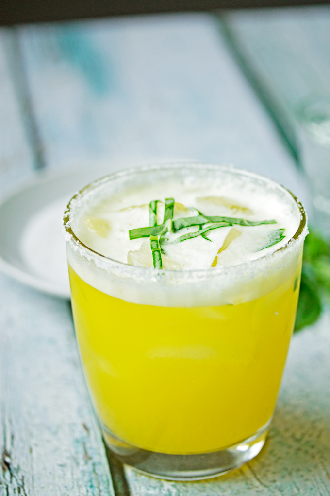 Passion Fruit Margarita on the Rocks with Lime & Basil