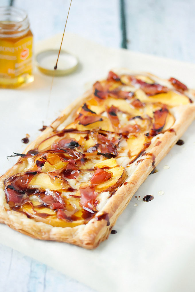 Peach, Proscuito & Brie Tart drizzled with balsamic
