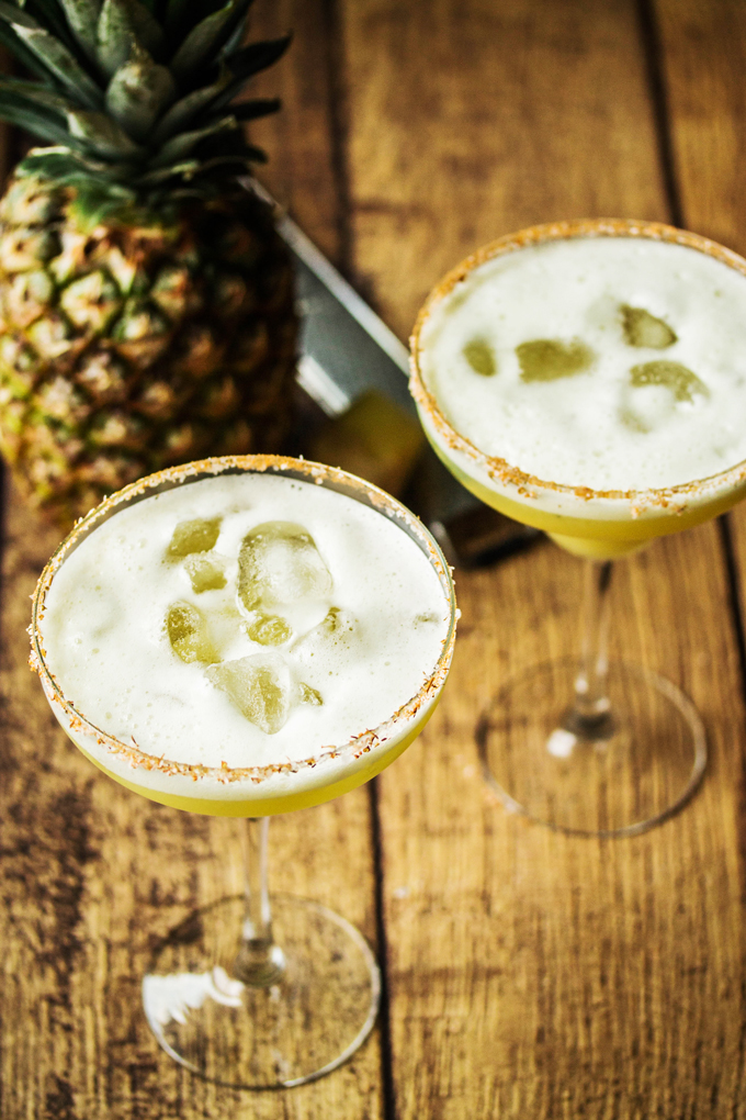 Pineapple Ginger & Basil Margarita Shaken with Egg Whites